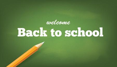 Back to school inscription on blackboard.