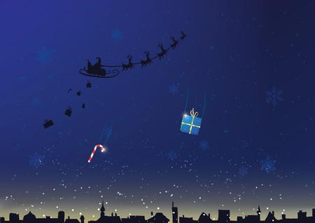 Beautiful christmas postcard. Santa Claus giving presents to all village.