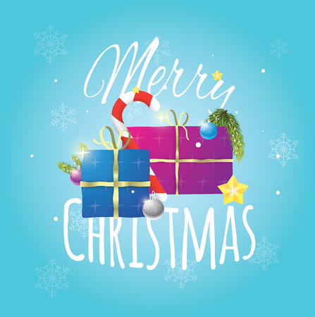 Beautiful composition of christmas items on blue snowy background.