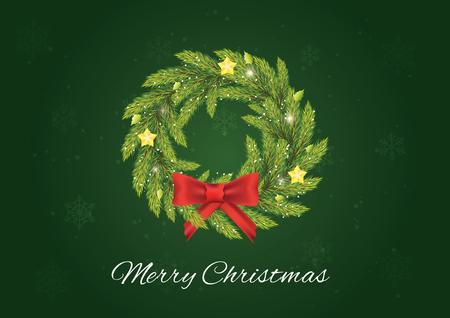 Christmas advent coronal. Christmas postcard. Illustration