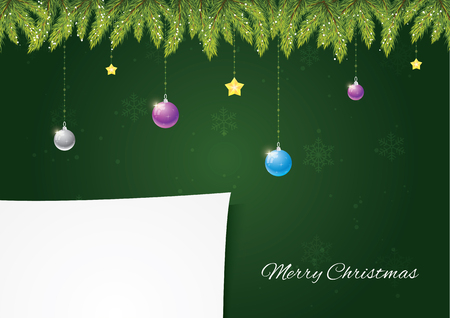 Christmas needles with decoration on green background with snow and snowflakes. Paper for your postcard. Merry Christmas and happy new year! 向量圖像