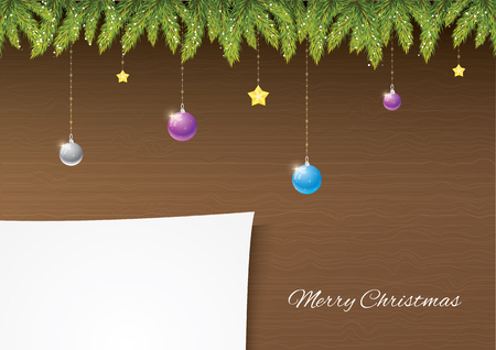 Christmas needles with decoration on wooden background with snow and snowflakes. Paper for your postcard. Merry Christmas and happy new year!