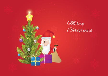 Christmas tree with santa claus, when he is giving gifts to you. Christmas postcard. Red background. 向量圖像