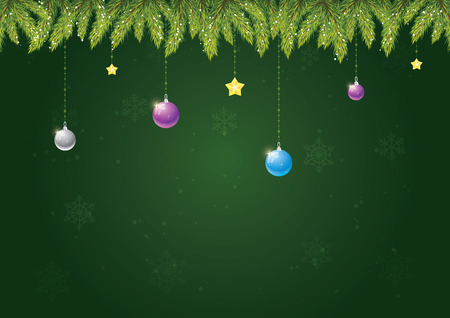 Christmas needles with decoration on green background with snow and snowflakes. Merry Christmas and happy new year!