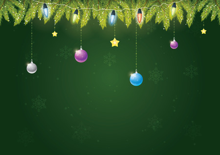 Christmas needles with decoration and christmas lights on green background with snow and snowflakes. Merry Christmas and happy new year!