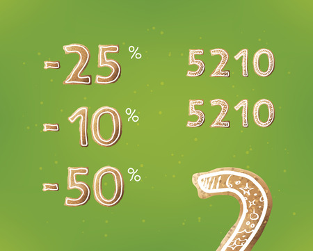 Discount numbers from sweet christmas gingerbread. Realistic vector sweets on green background. 向量圖像
