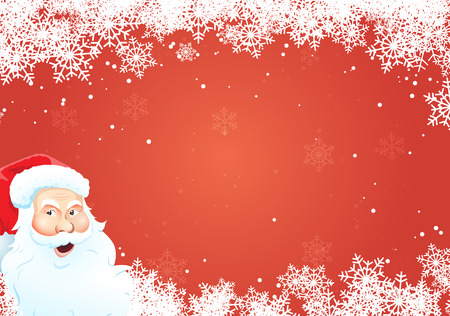 Red snowy christmas background with Santa Claus. 向量圖像