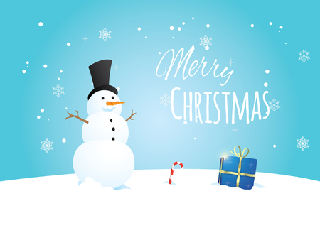 Beautiful christmas postcard with a snowman.