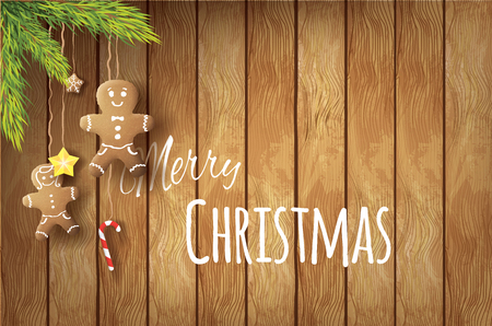 Realistic vector christmas postcard with gingerbreads and needles on wooden background.