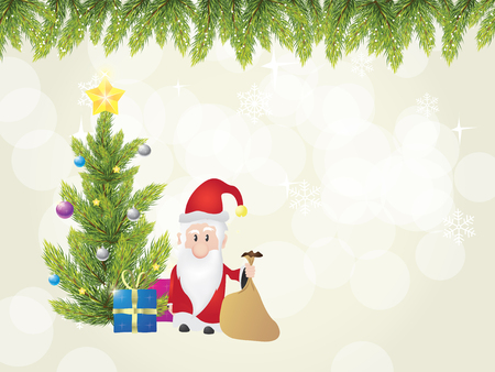 Christmas tree with santa claus, when he is giving gifts to you. Christmas postcard. 向量圖像
