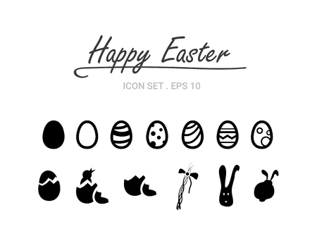 Happy easter! Vector easter icon set.