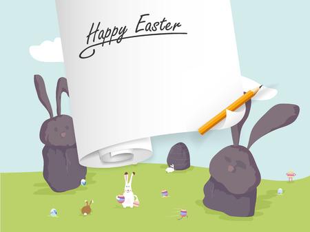 Happy easter postcard. Vector cartoon illustration. 向量圖像