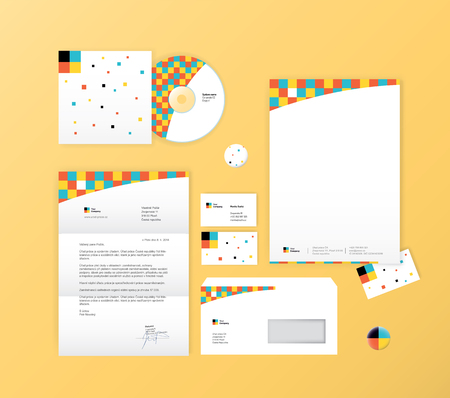 Vector stationery template design with abstract symbol. Simple corporate identity.
