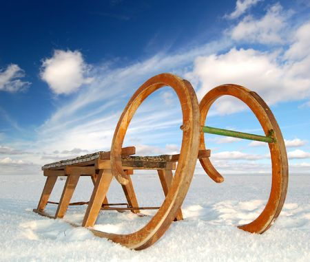 wintrily: old wooden sledge