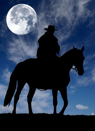 cowboy man:   cowboy silhouette  Stock Photo