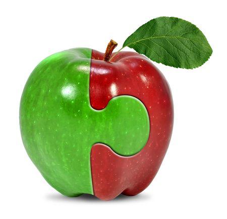 白で隔離されるリンゴ コラージュ 写真素材