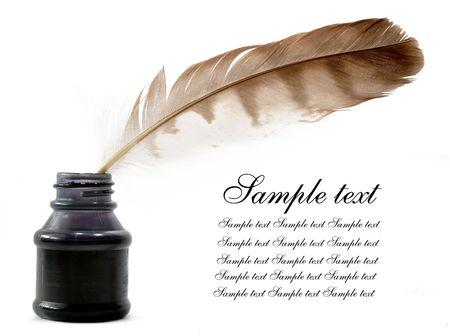 Botella de pluma y tinta  Foto de archivo