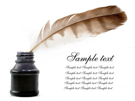 a literary sketch: Feather and ink bottle  Stock Photo