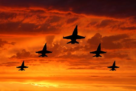 five bombers over sunset Stock Photo - 7255827