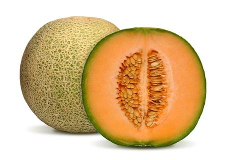 マスクメロン: 白い背景上に分離されてオレンジ メロン 写真素材