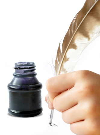 a literary sketch: Feather and ink bottle