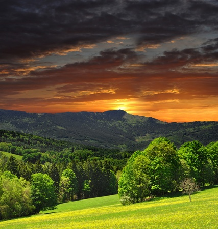 sunset over the national park Sumava in Czech Republic  photo