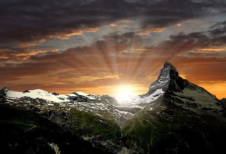 ice climbing: sunrise on the Matterhorn