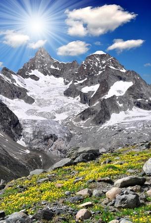 high mountains: Beautiful mountain Ober Gabelhorn - Swiss alps Stock Photo