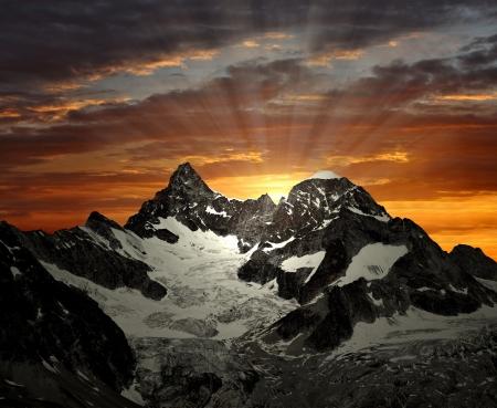 sunrise on the Ober Gabelhorn - Swiss Alps Stock Photo - 9133176