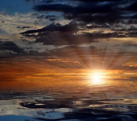 muggy: sunset over sea Stock Photo