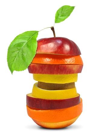 Fruit mix isolated on white  photo