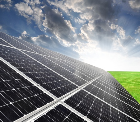 photovoltaic cell: Solar energy panels against sky