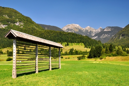 haylofts in Triglav National Park - Julian Alps, Slovenia  photo
