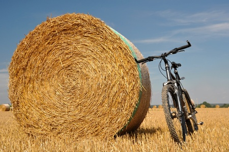 bicycle leaning against a stack of straw photo