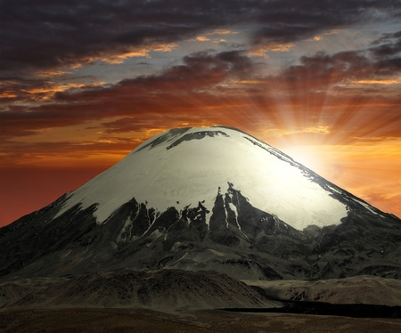 Vulcano Parinacota in National Park Lauca, Chile Stock Photo