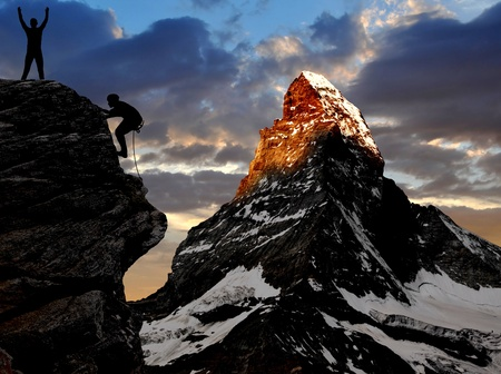 matterhorn: climber in the Swiss Alps