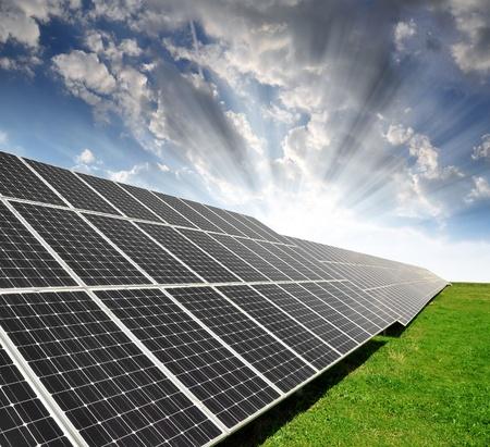photovoltaic panel: Solar energy panels against sky