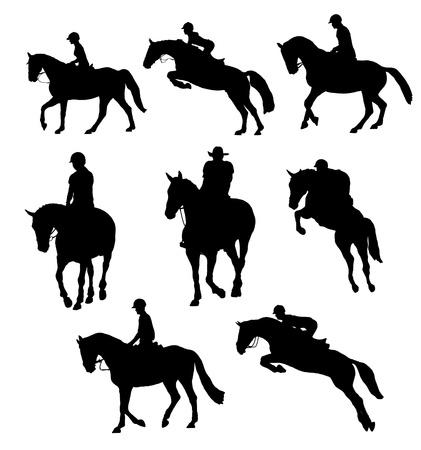 silueta ciclista: montar a caballo Foto de archivo