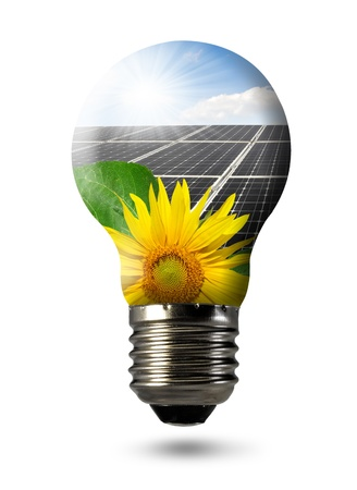 Bulb with of solar panel  Stock Photo