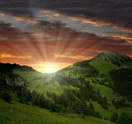 sunset on the Swiss Alps
