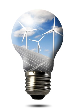 turbina: Bombilla con la del panel solar