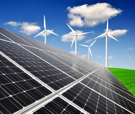 solar energy panels and wind turbine photo