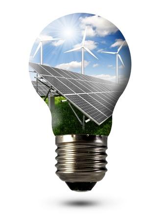 sonnenenergie: Birne mit der Solaranlage