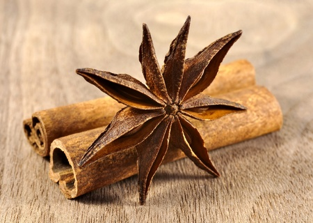 cinnamon stick: Anise stars and  cinnamon isolated on white background Stock Photo