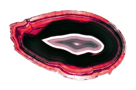 semi precious: A polished, translucent slice of banded agate
