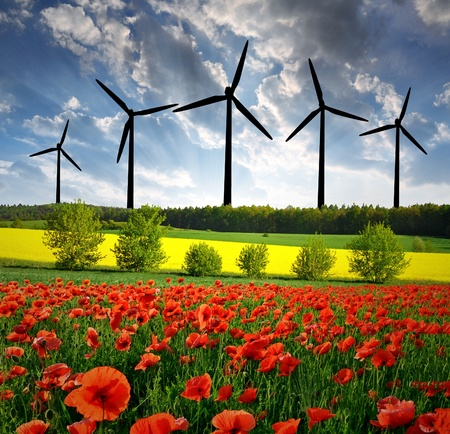 spring landscape with wind turbine  photo