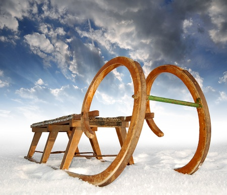 old wooden sledge photo