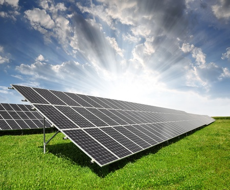 Solar energy panels against sky