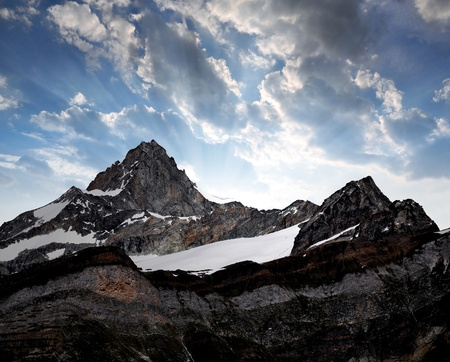 sky scape: Beautiful mountain Zinalrothorn - Swiss alps