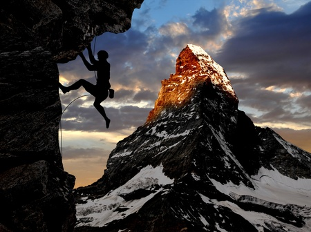 adventure sports: climber in the Swiss Alps